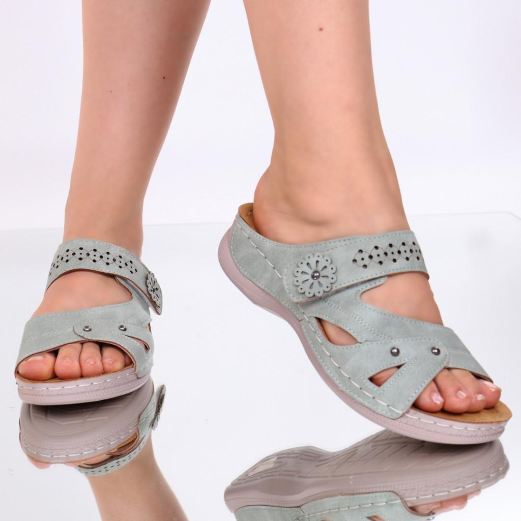 Papuci verzi piele ecologica Amita