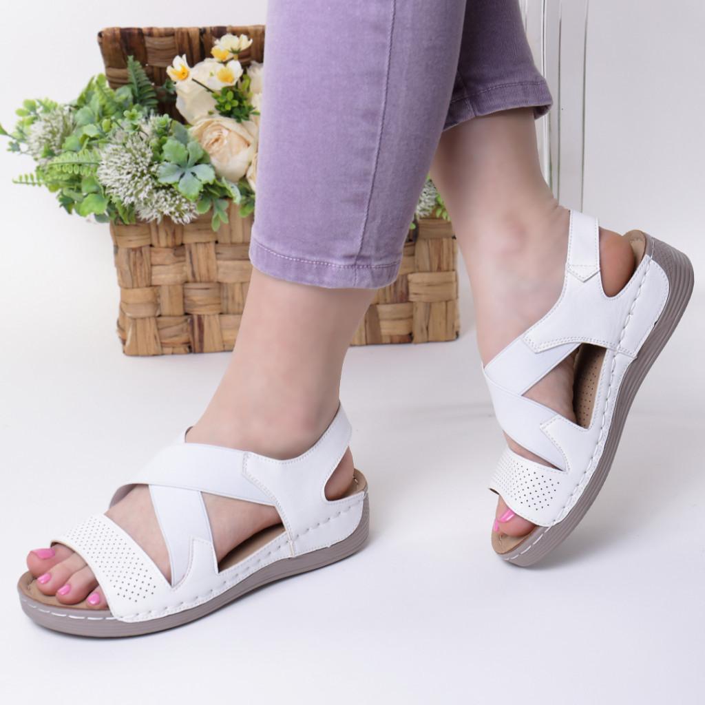 Sandale albe piele ecologica Aliza