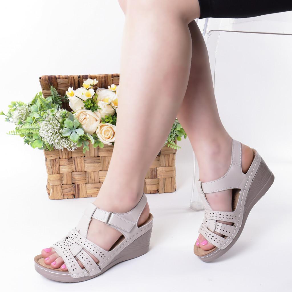Sandale crem piele ecologica Iva