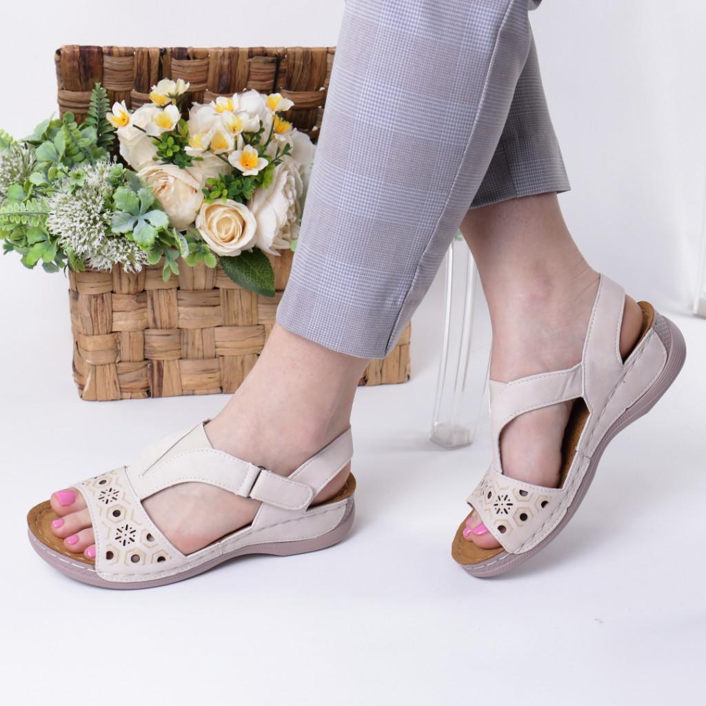 Sandale crem piele ecologica Safira