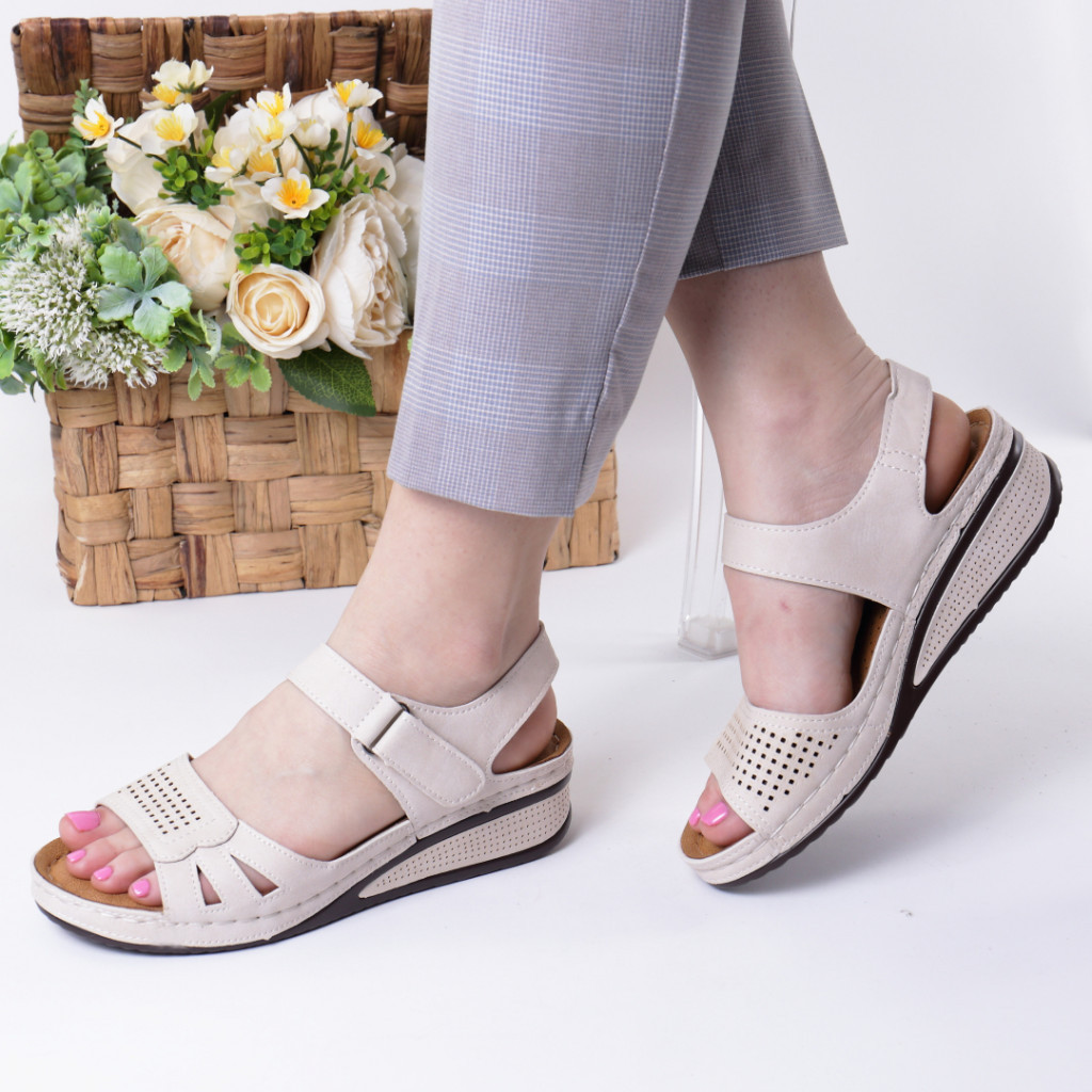 Sandale crem piele ecologica Verana