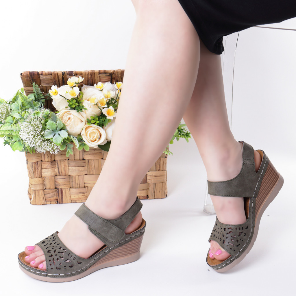 Sandale kaki piele ecologica Hara