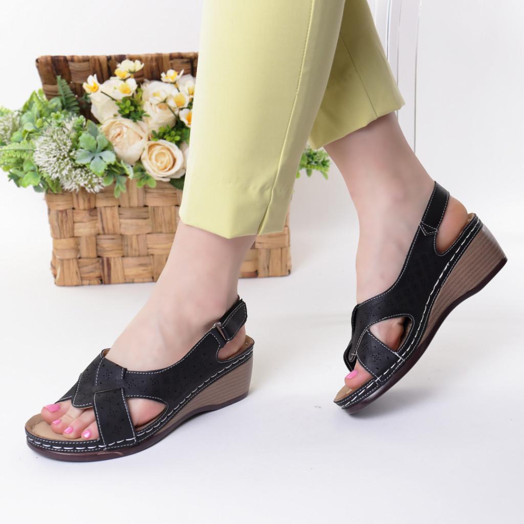 Sandale negre piele ecologica Riveka