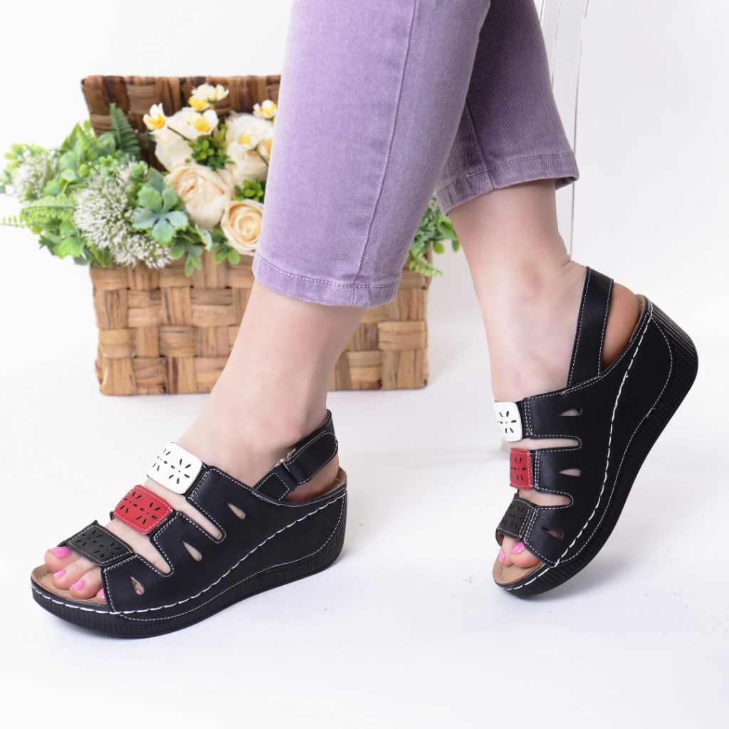 Sandale negru cu rosu piele ecologica Zemira