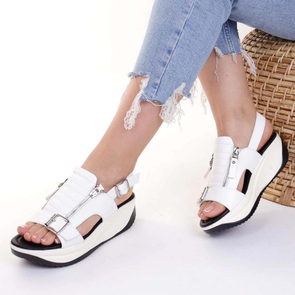 Sandale piele ecologica albe Heidi