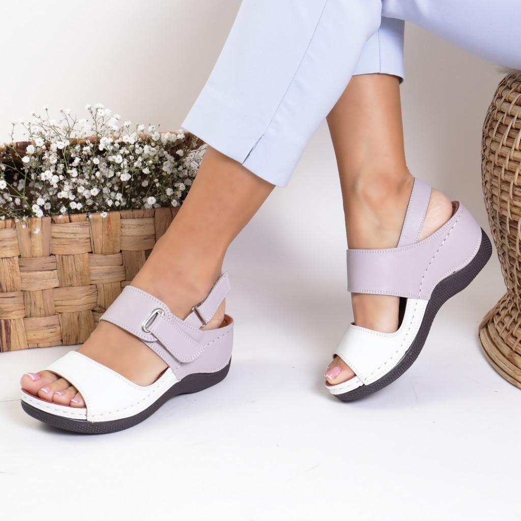 Sandale piele ecologica albe Unica