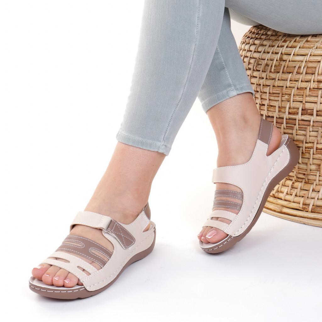 Sandale piele ecologica bej Helga