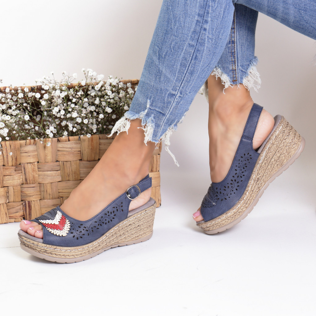 Sandale piele ecologica bleumarin Cleopatra