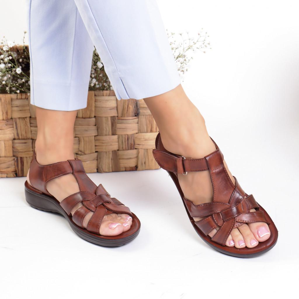 Sandale piele ecologica maro Adriana