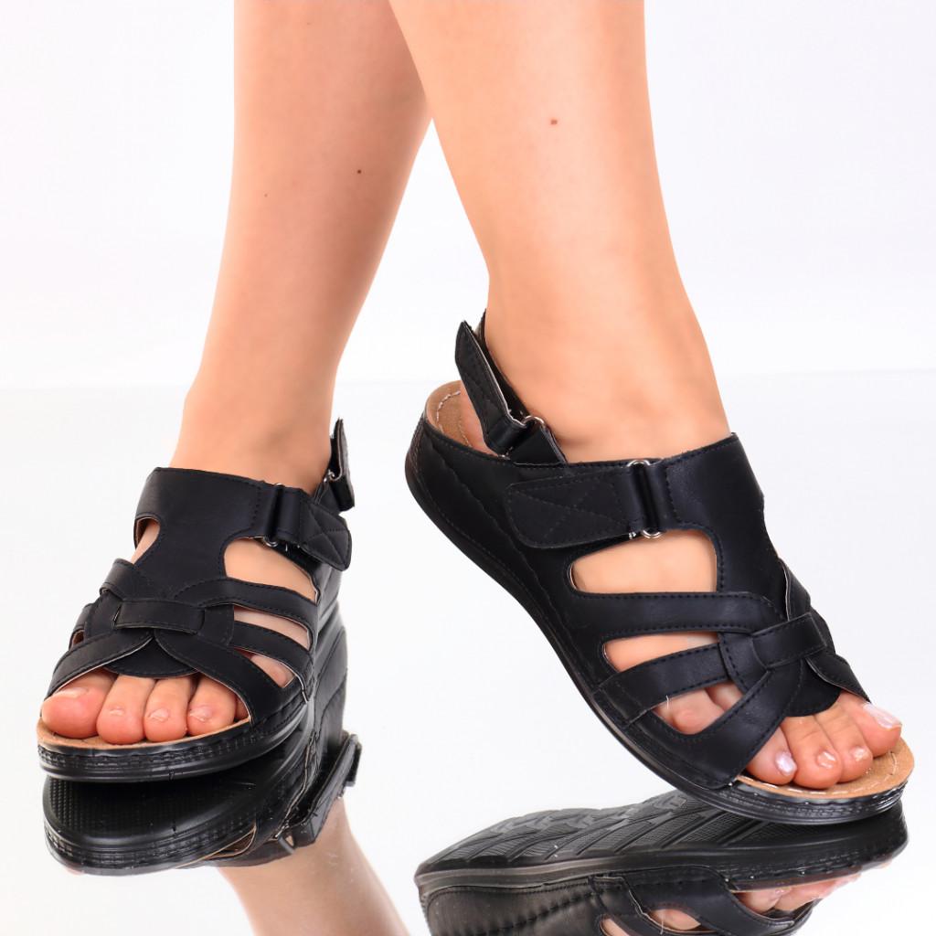 Sandale piele ecologica negre Ardena