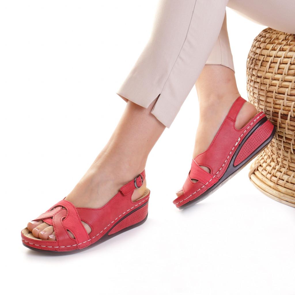 Sandale piele ecologica rosii Mihaela