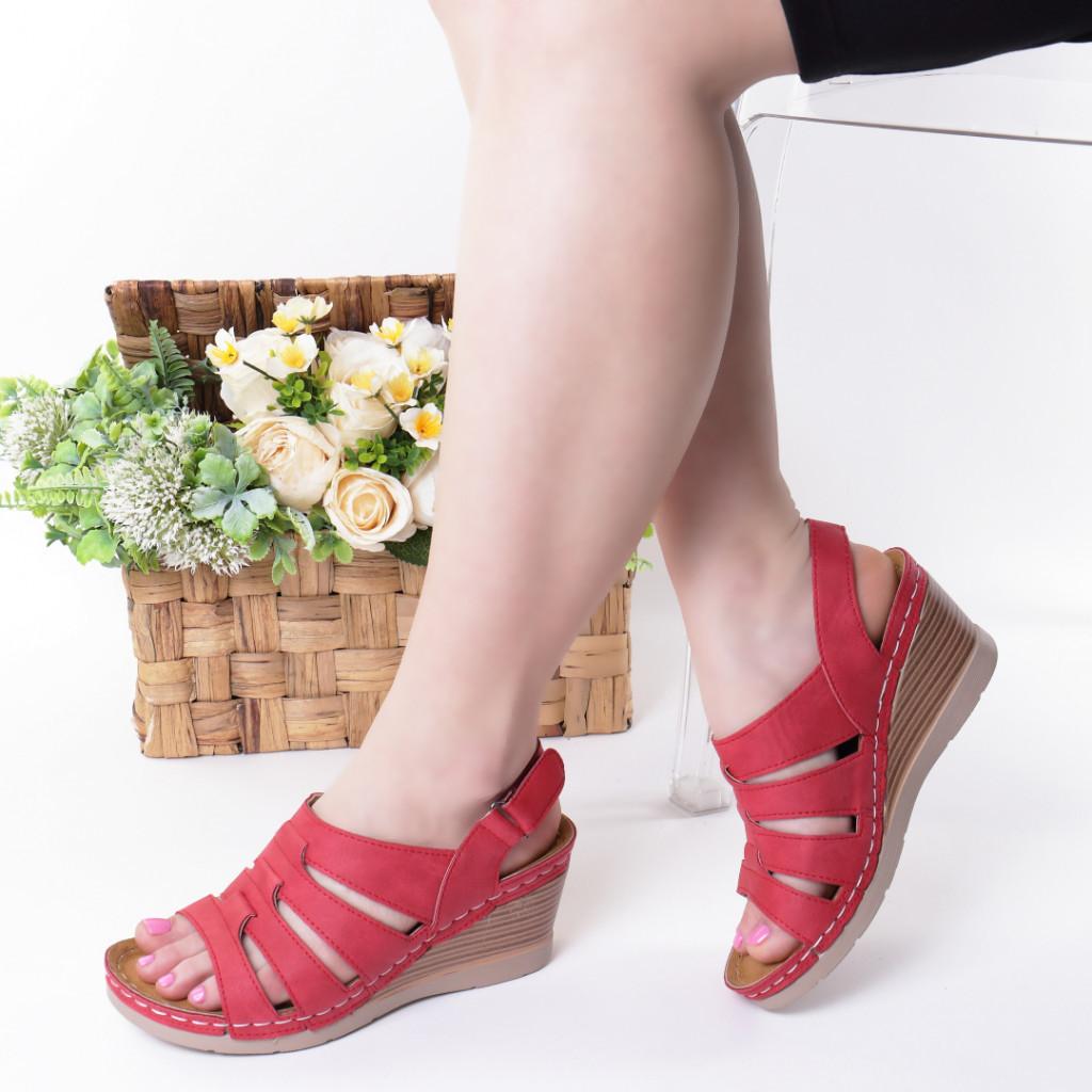 Sandale rosii piele ecologica Giorgia