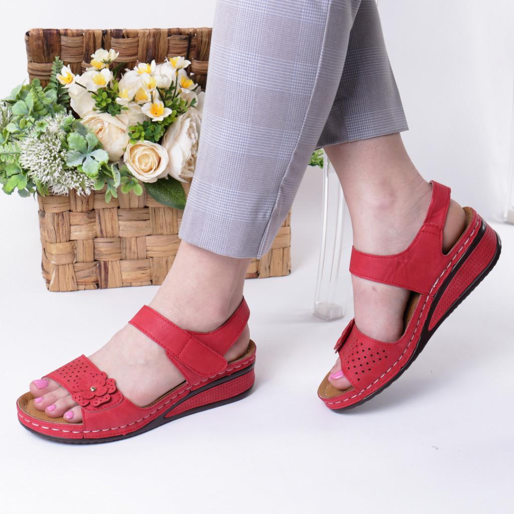 Sandale rosii piele ecologica Nuna