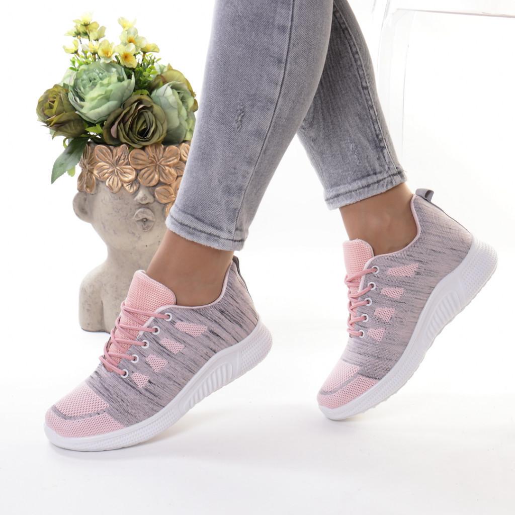 Adidasi gri cu roz material textil Persiana