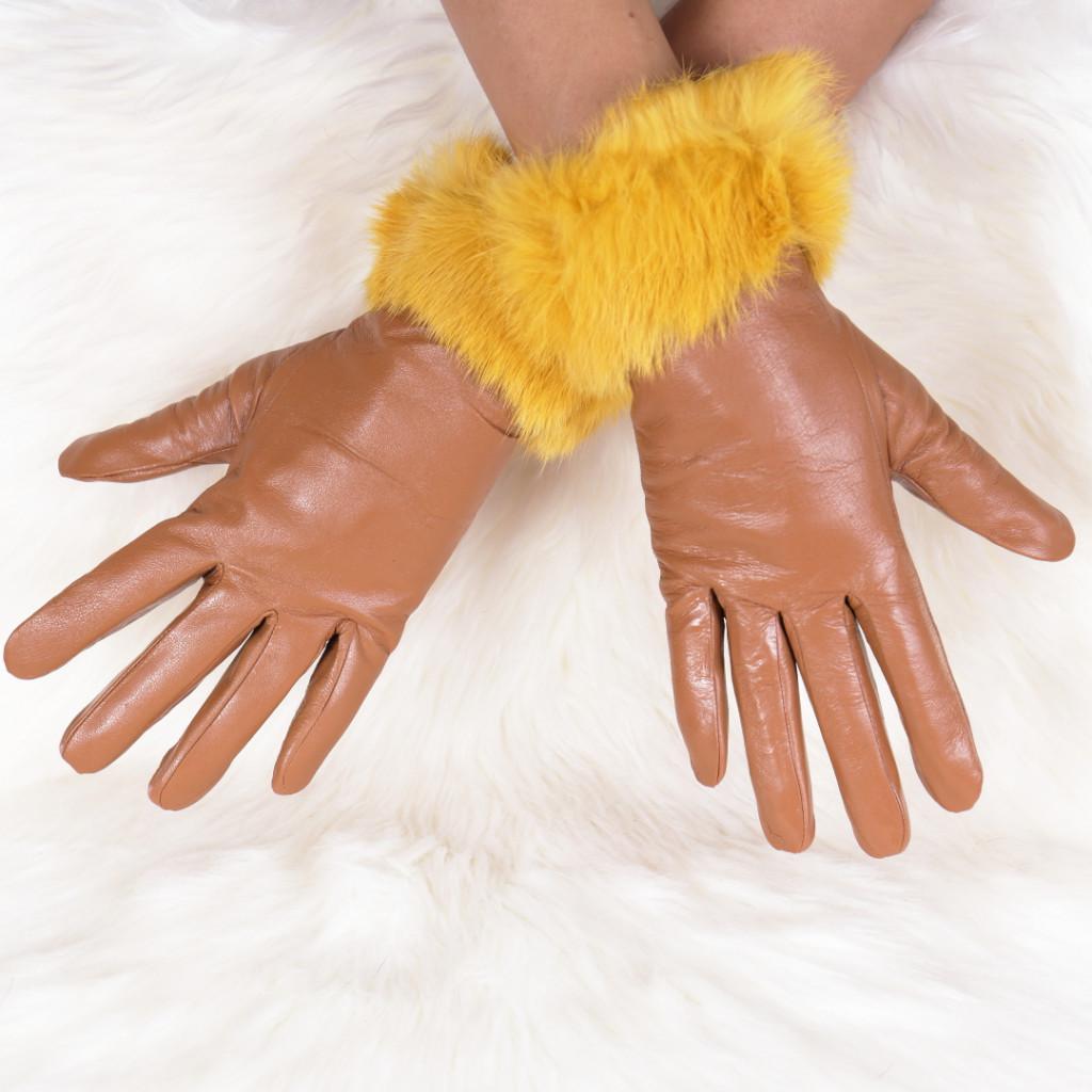 Manusi din piele ecologica cu puf galbene Genna