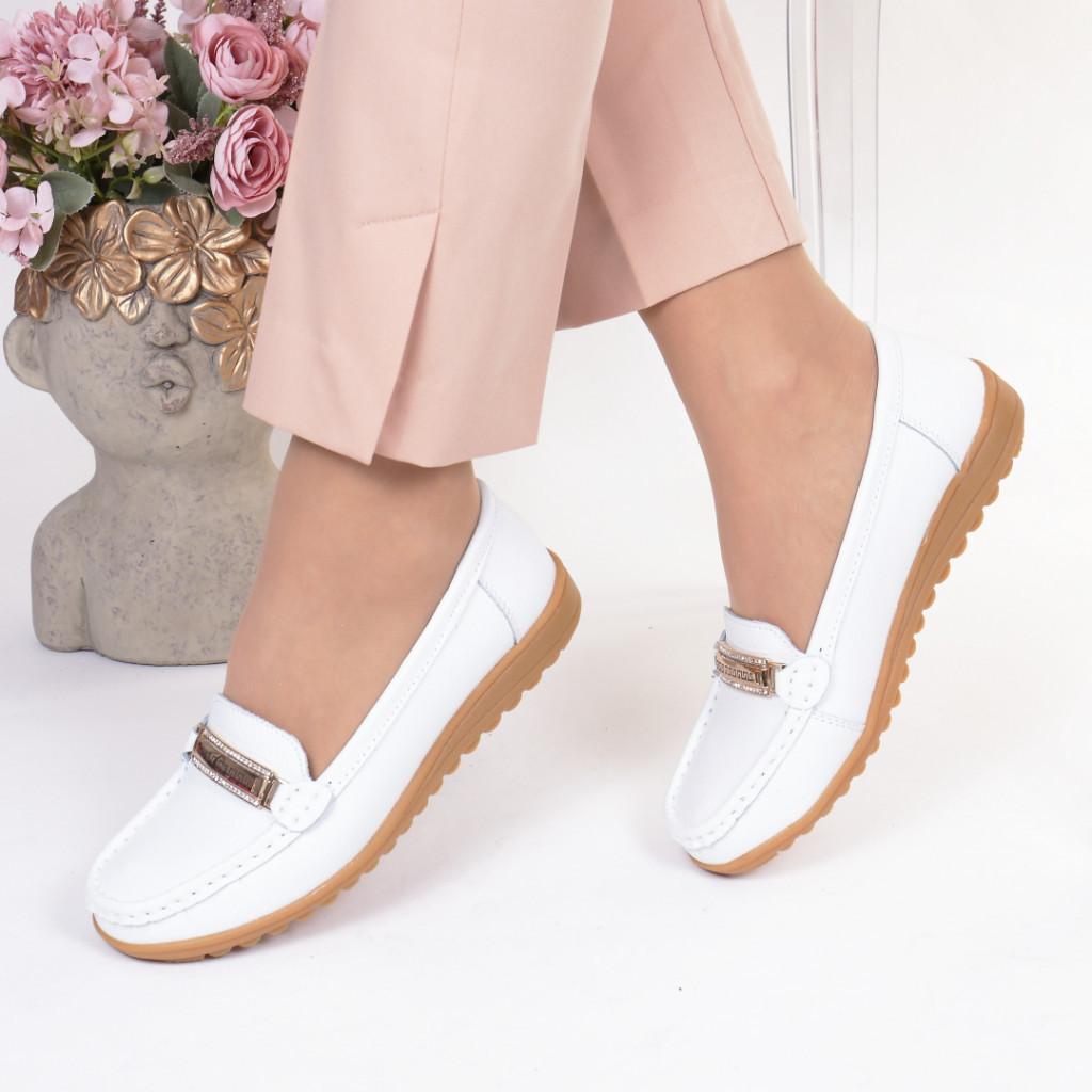 Pantofi albi piele naturala Edana
