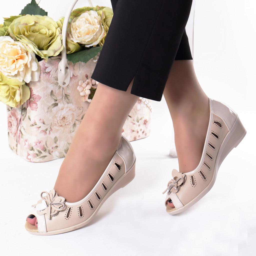 Pantofi bej piele ecologica Alara