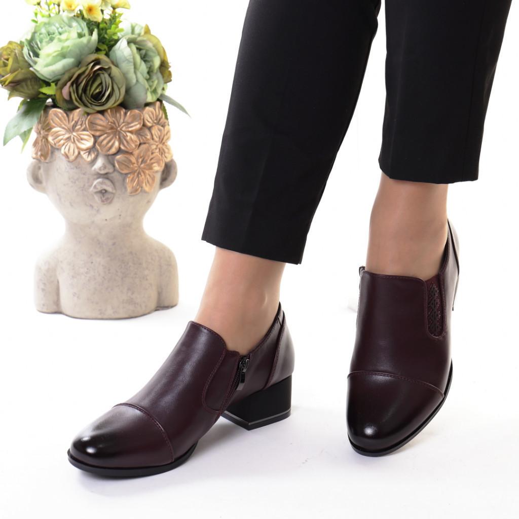 Pantofi bordo piele ecologica Sanura