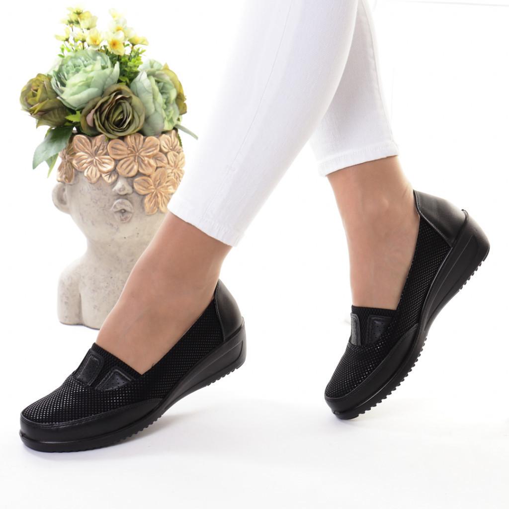 Pantofi negri piele ecologica Mania