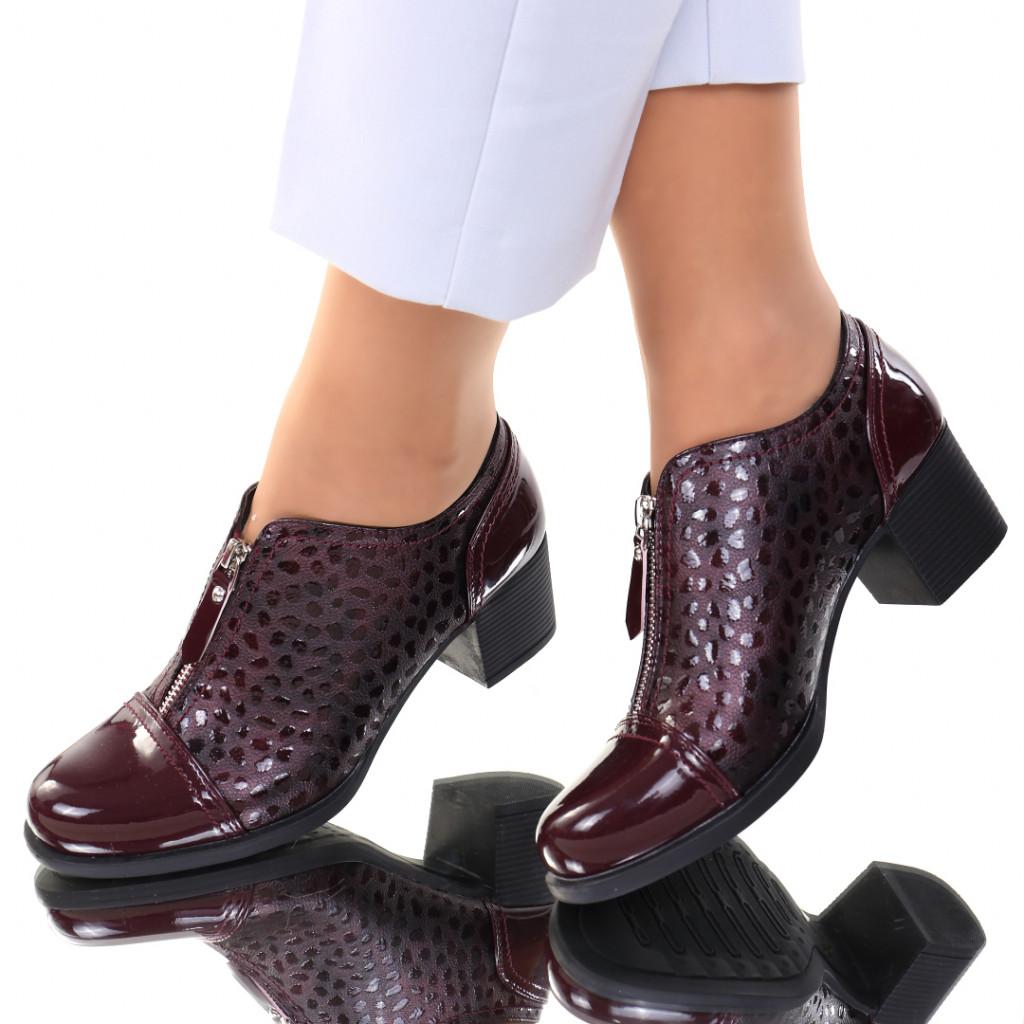 Pantofi piele ecologica bordo Mistia
