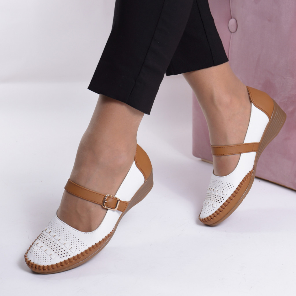 Pantofi piele ecologica camel/alb Carlia