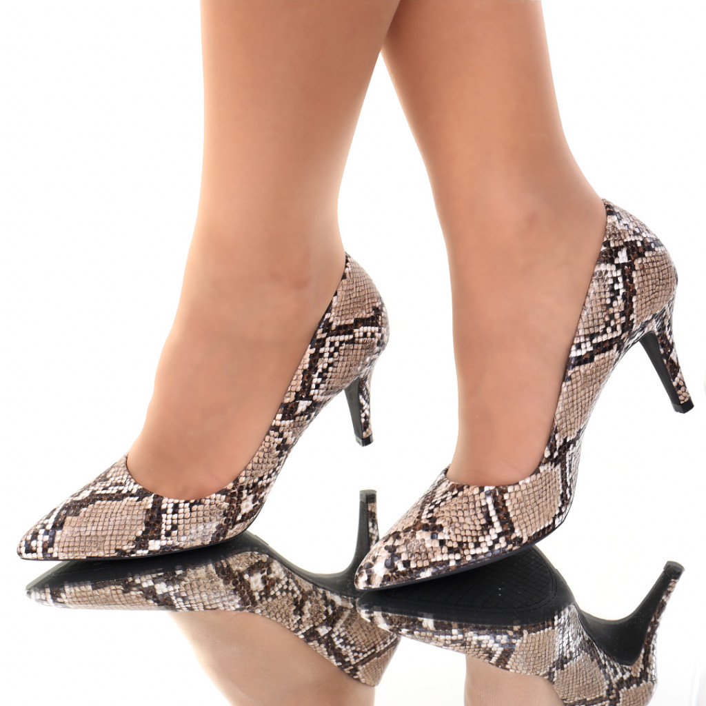 Pantofi piele ecologica maro Sedra