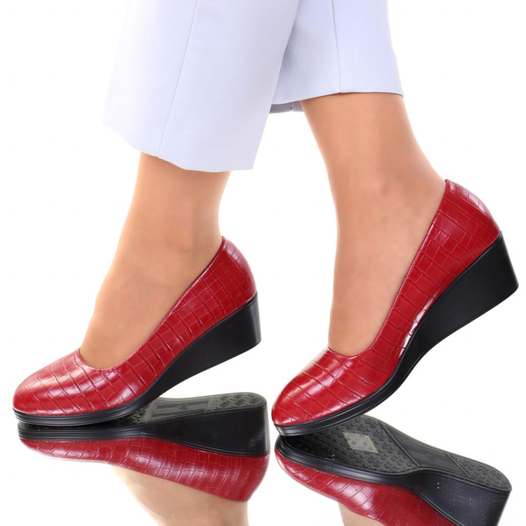 Pantofi piele ecologica rosii Felicia