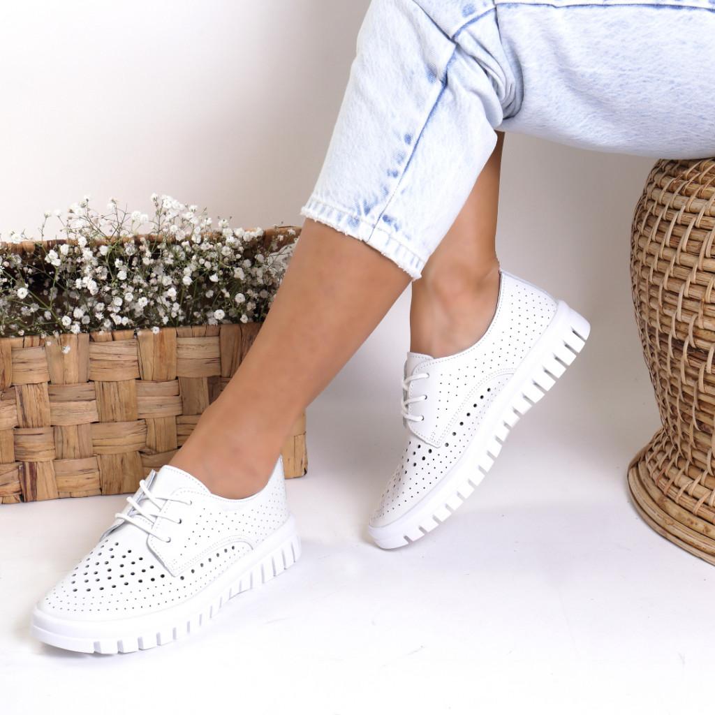 Pantofi piele naturala albi Nevada
