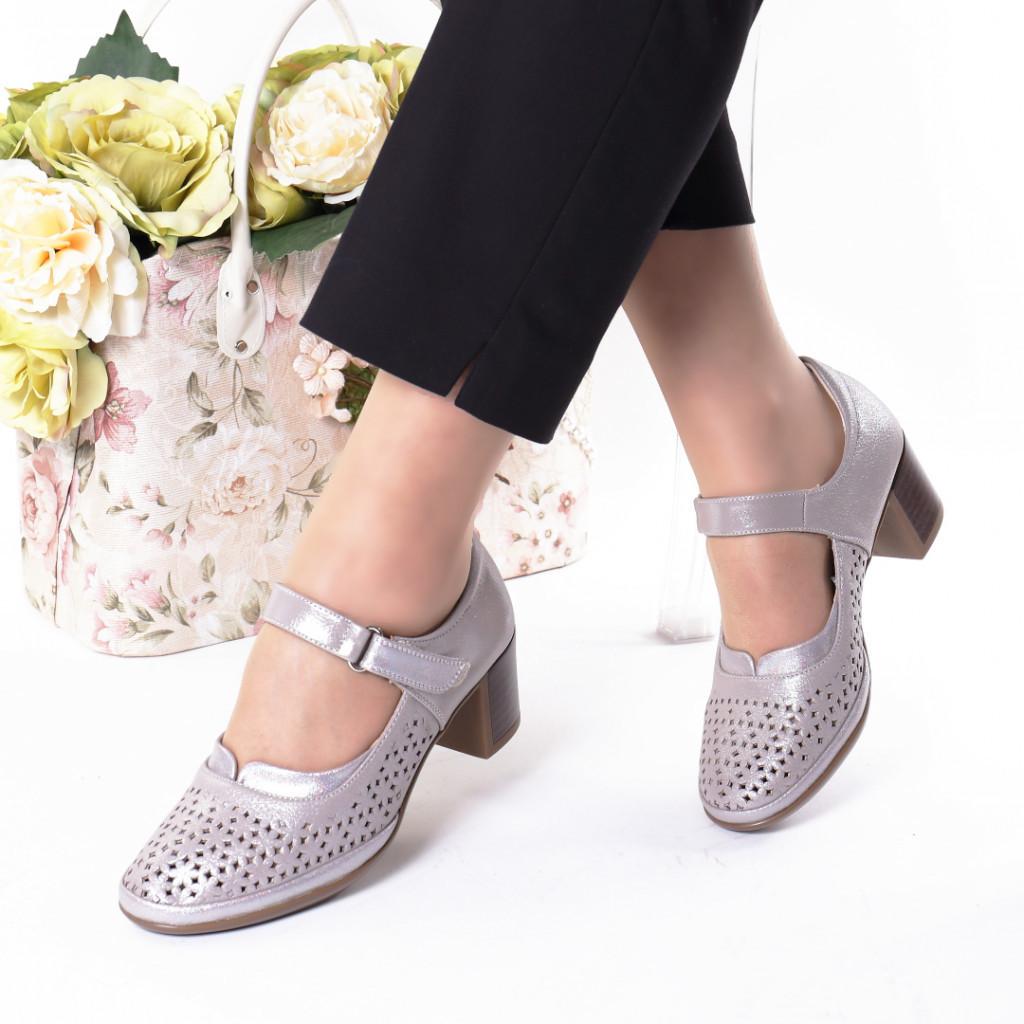 Pantofi silver piele ecologica Olaria
