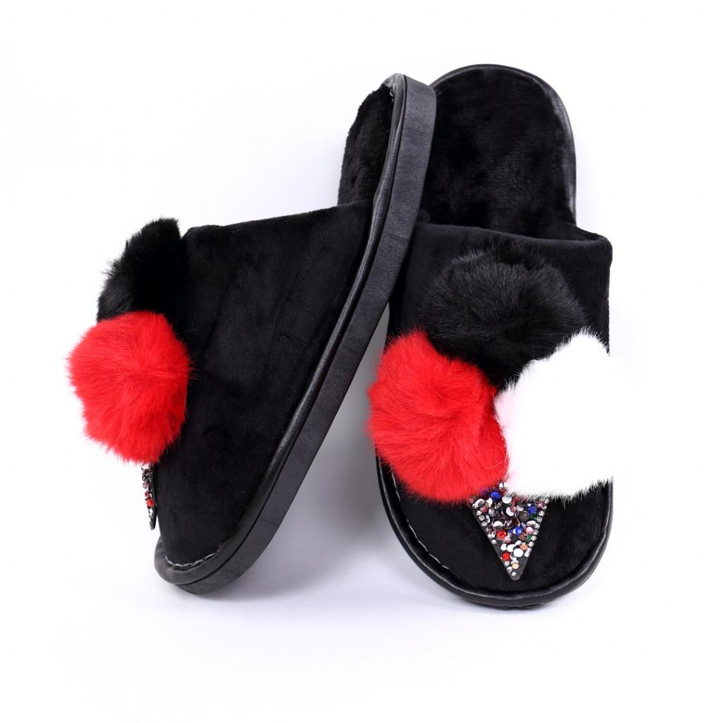 Papuci cu puf negri Parvi