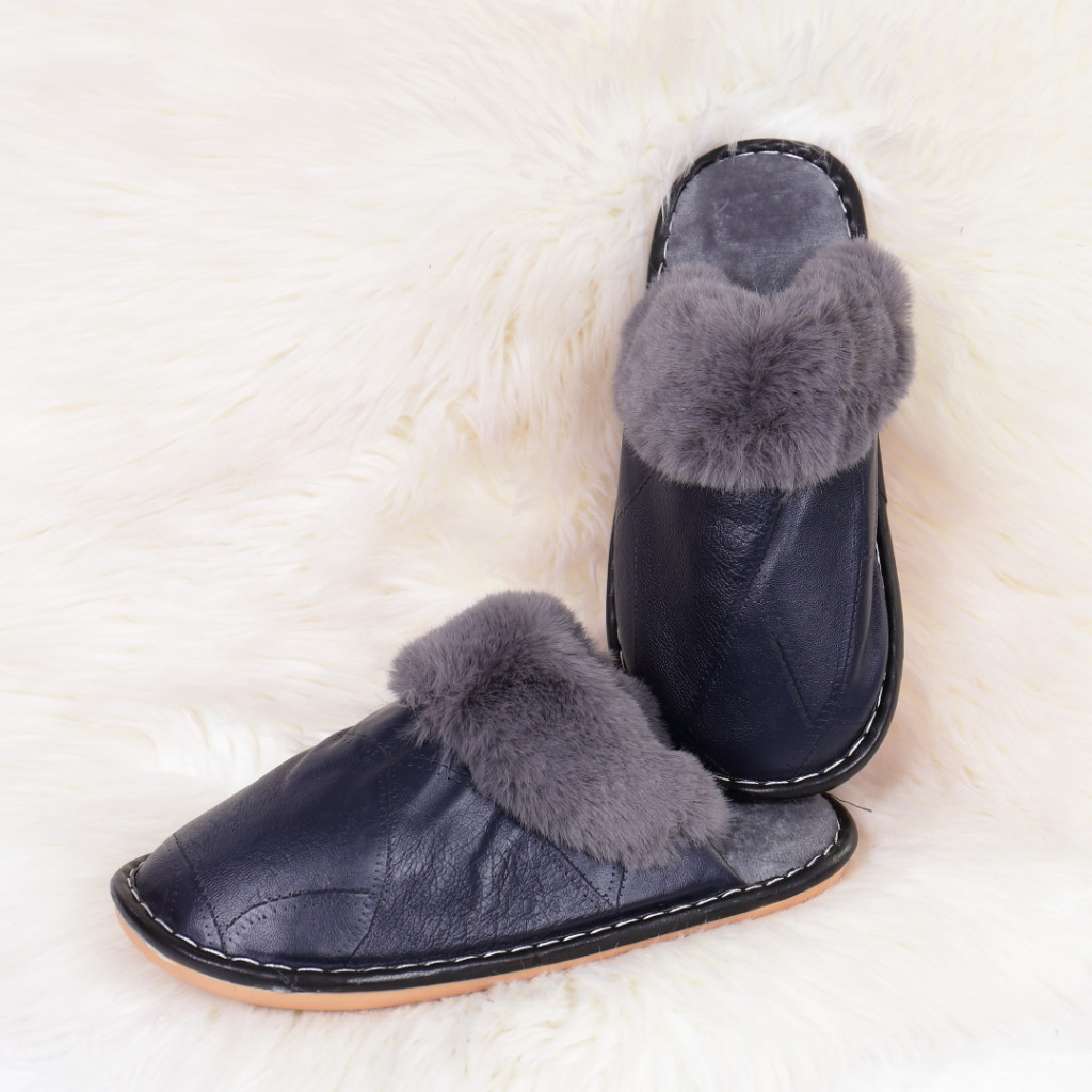 Papuci de casa cu blanita bleumarin Ozgur