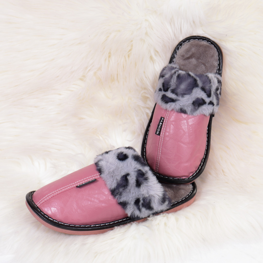 Papuci de casa cu blanita roz Silva