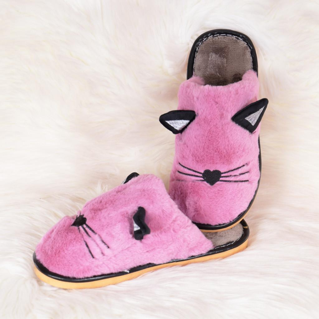 Papuci de casa lila cu pisica Mita