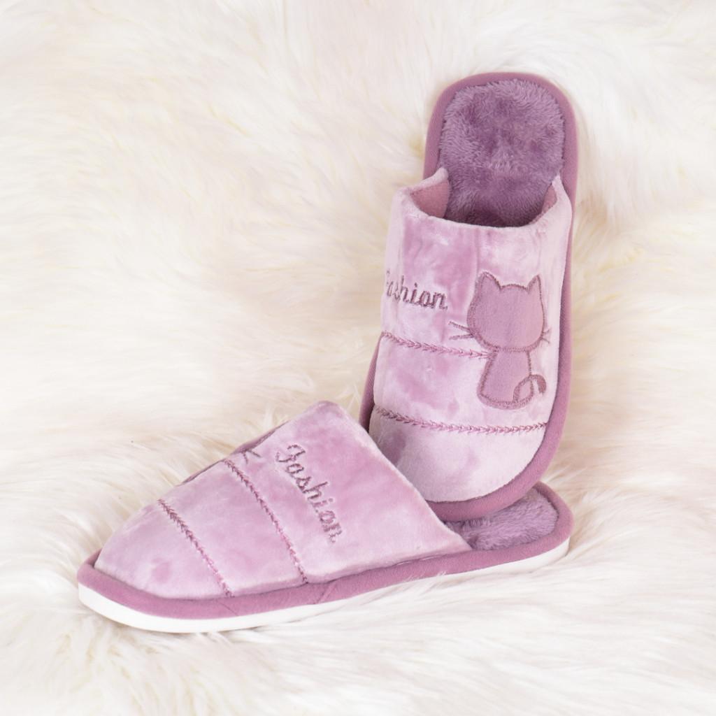 Papuci de casa lila cu pisica Tita