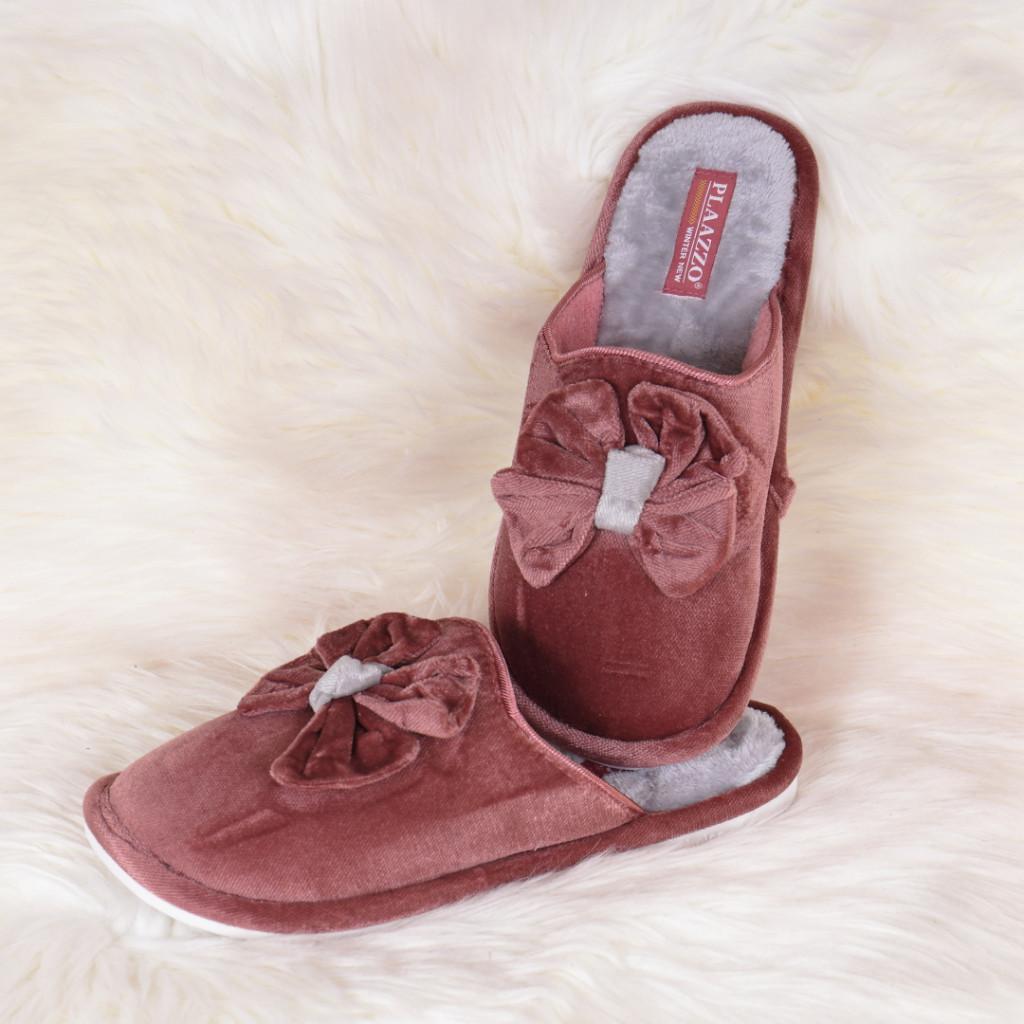 Papuci de casa maro cu funda Emily