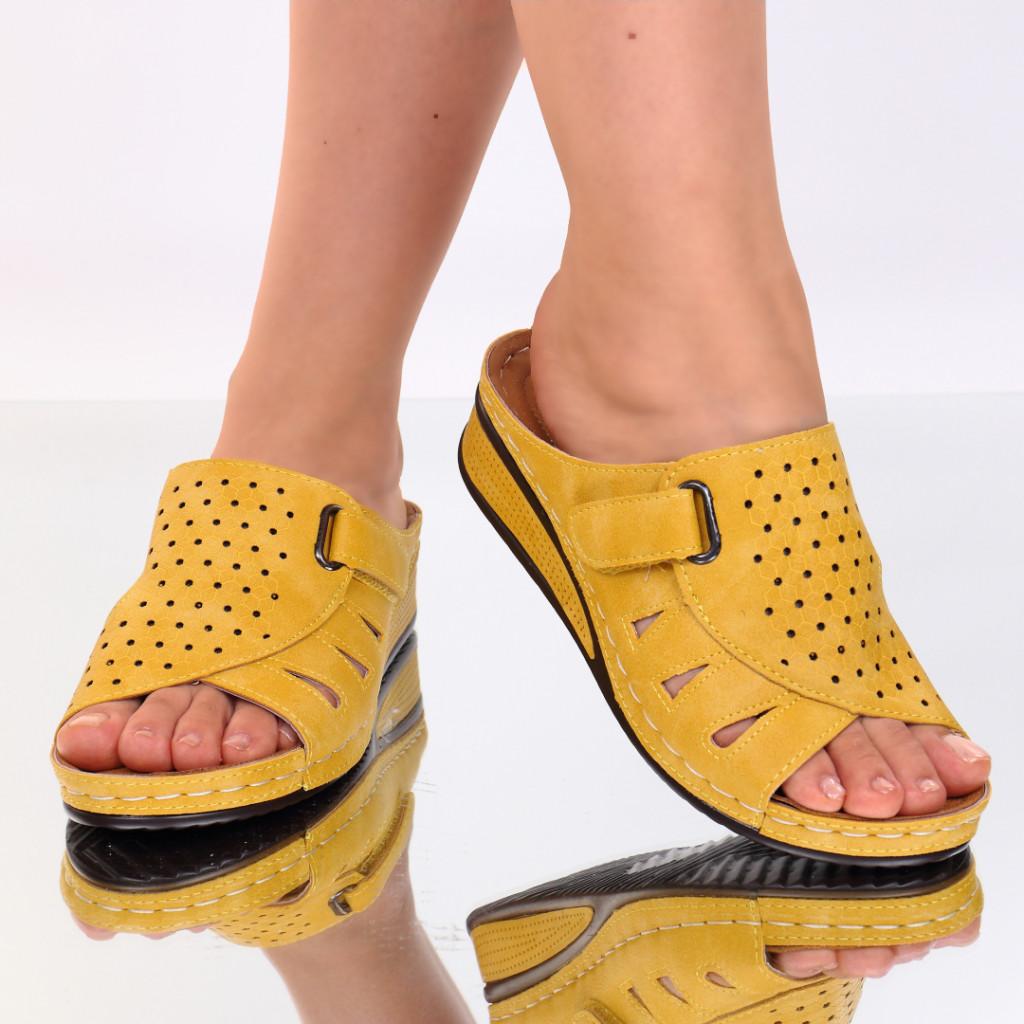Papuci galbeni piele ecologica Giovana