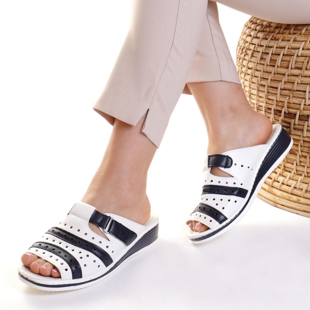 Papuci piele ecologica albi Siponia
