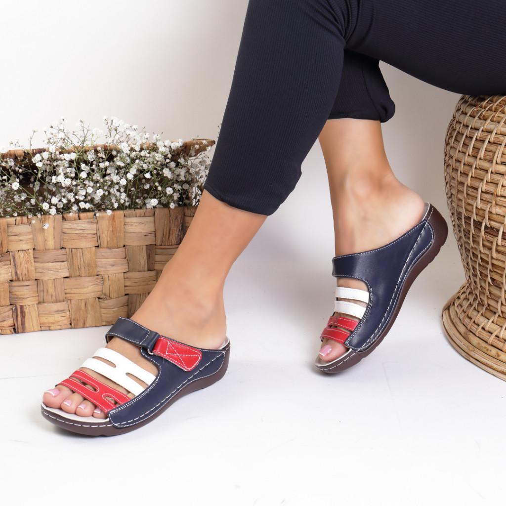 Papuci piele ecologica blue Varvara