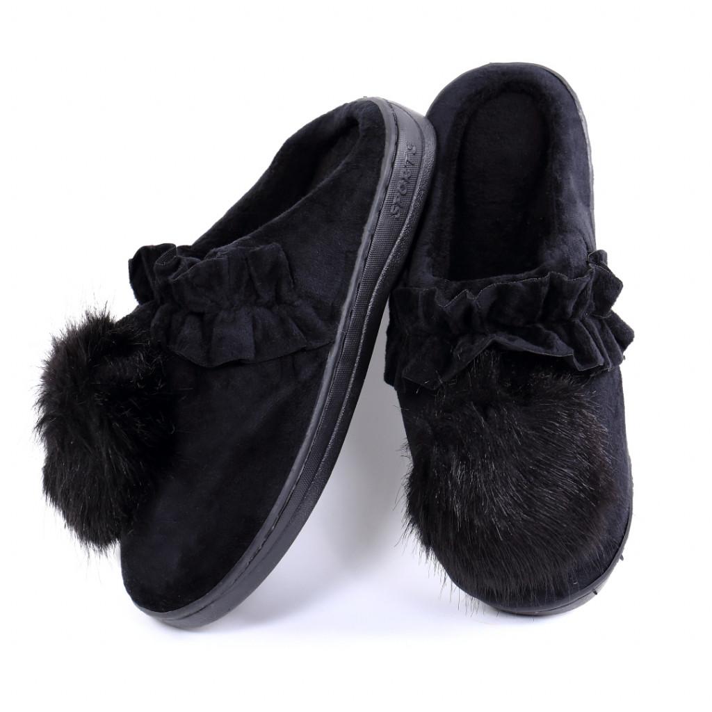 Papuci pufosi negri Miri