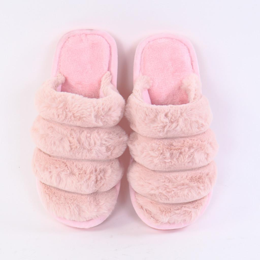Papuci pufosi roz deschis Sonaia