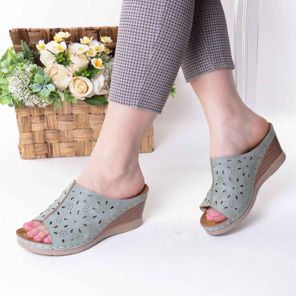 Papuci verzi piele ecologica Ilinca