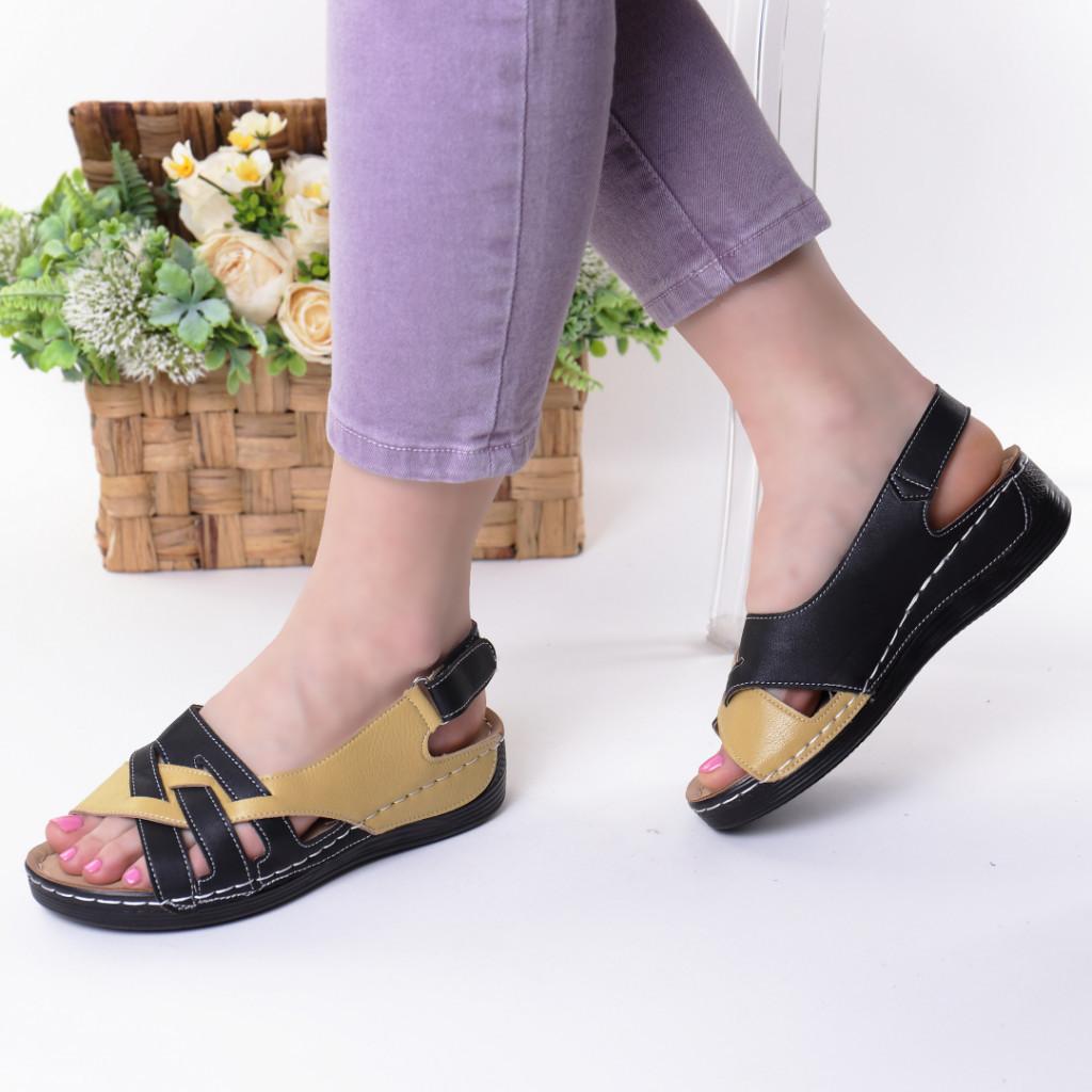 Sandale galben cu negru piele ecologica Dorona