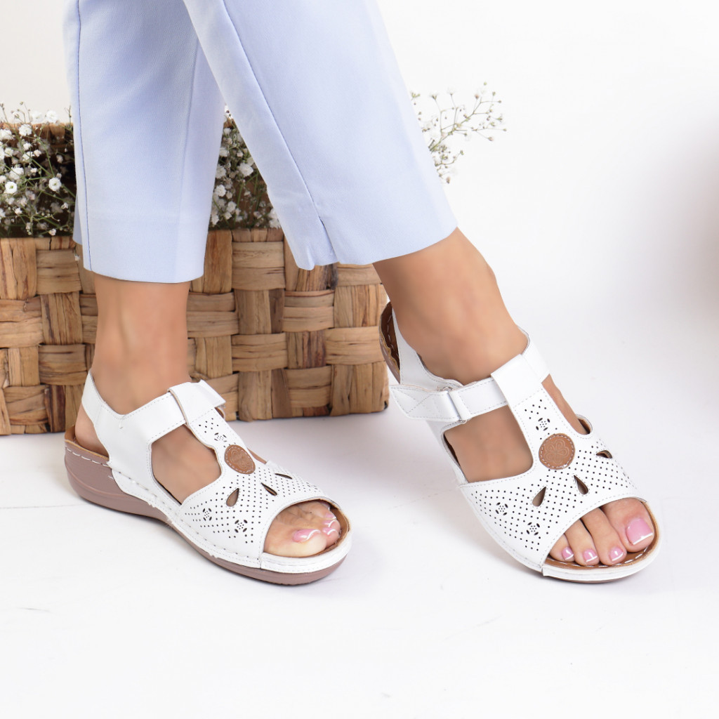 Sandale piele ecologica albe Demi