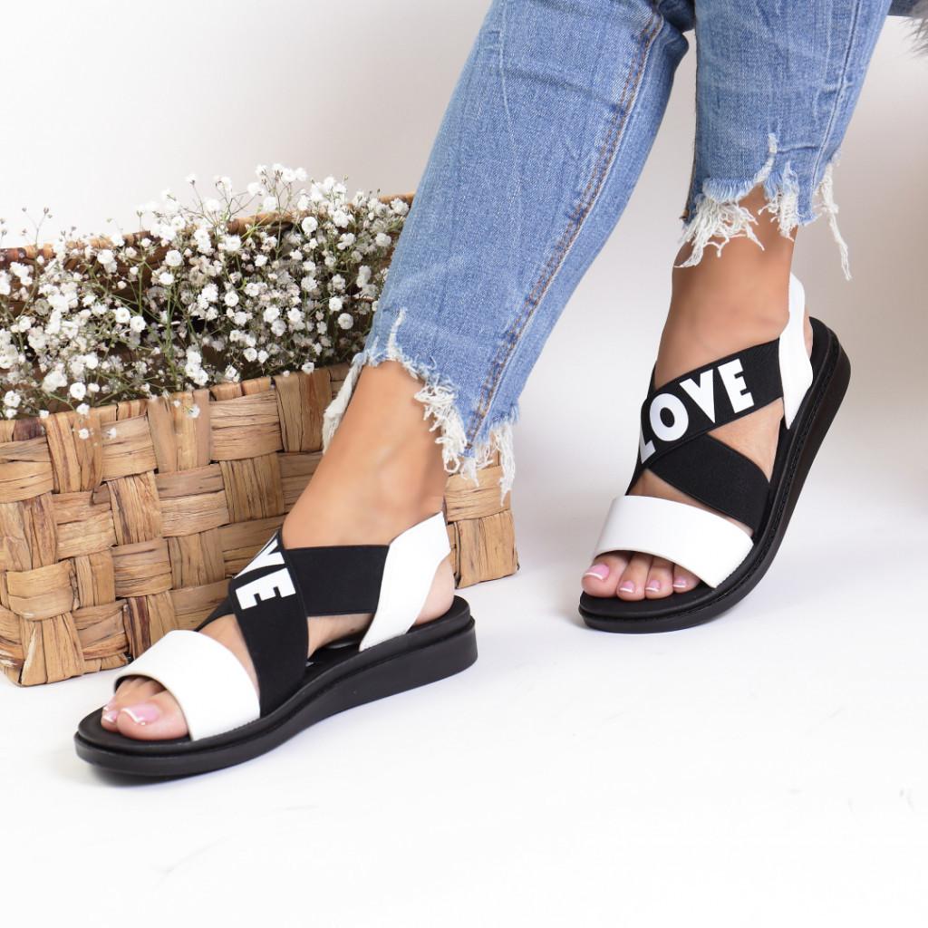 Sandale piele ecologica albe Virina