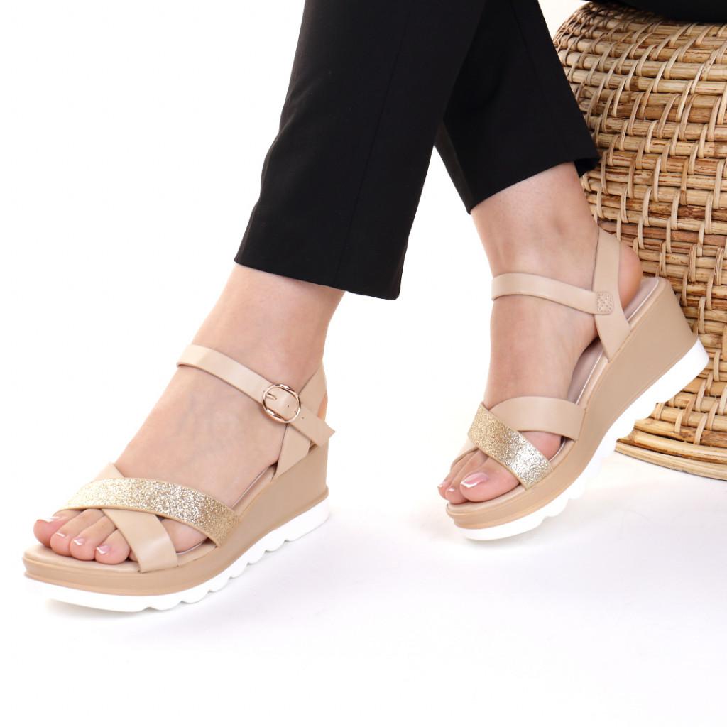 Sandale piele ecologica aurii Vanesa