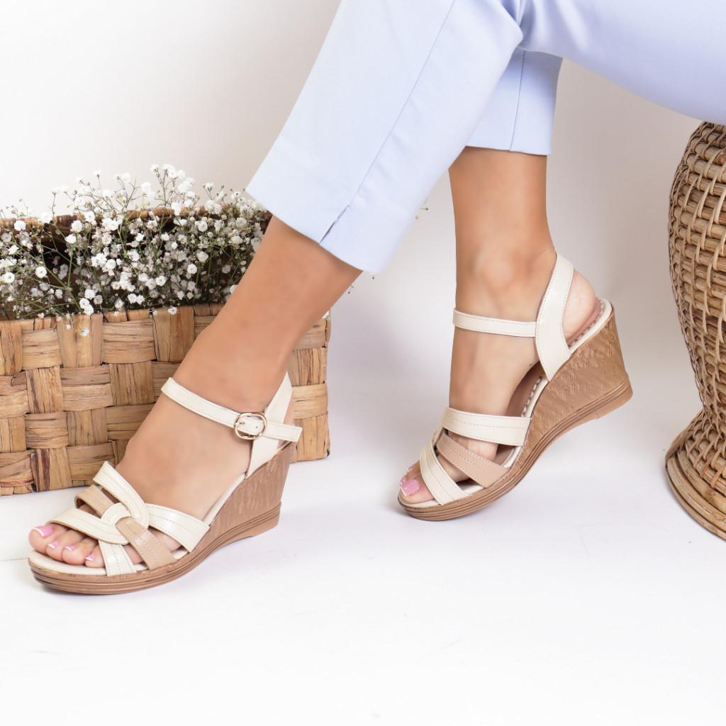 Sandale piele ecologica bej Inserta