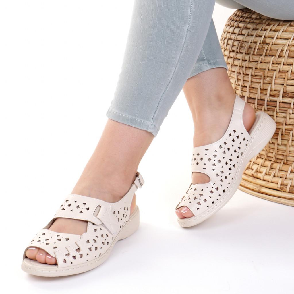 Sandale piele ecologica bej Iudita