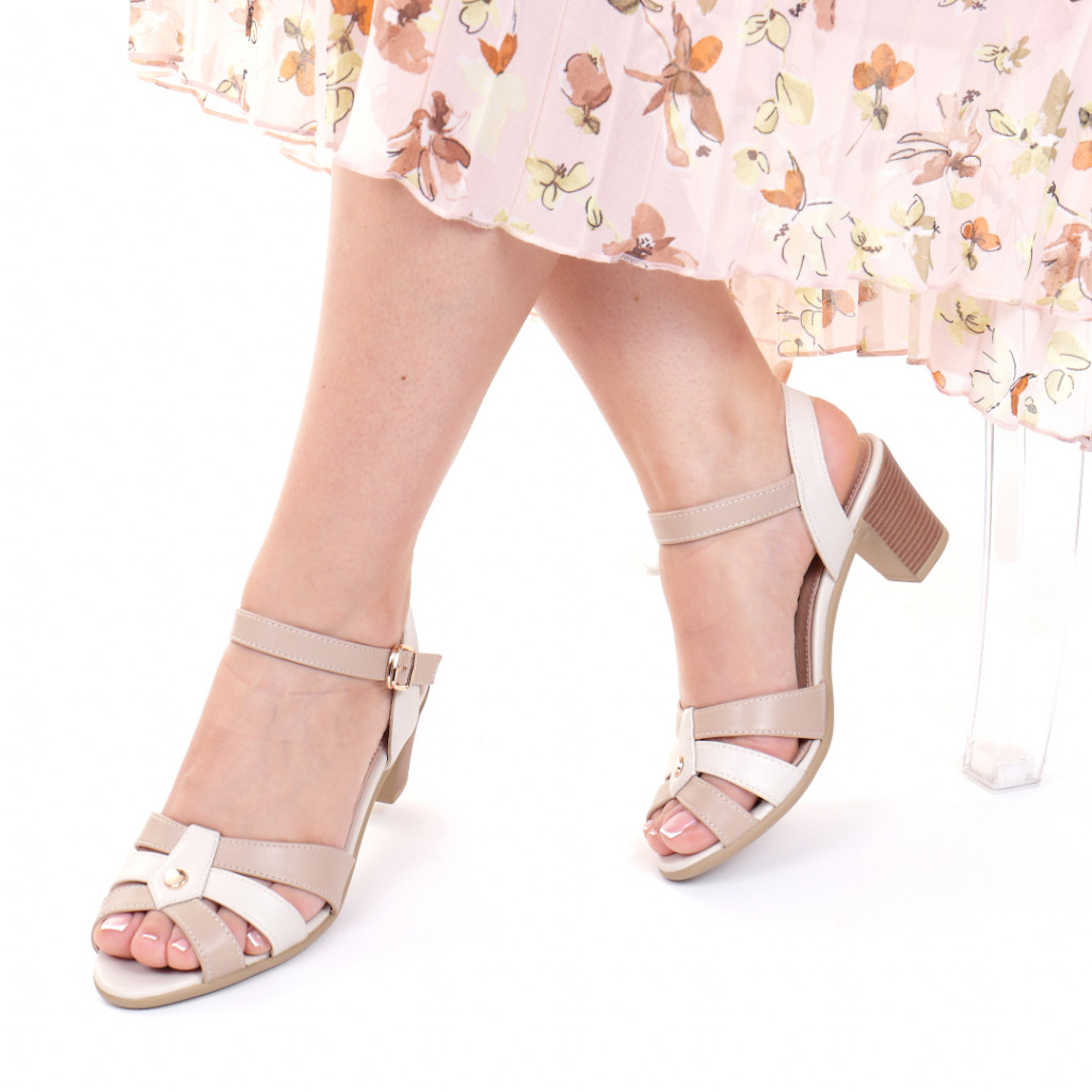 Sandale piele ecologica bej Leta