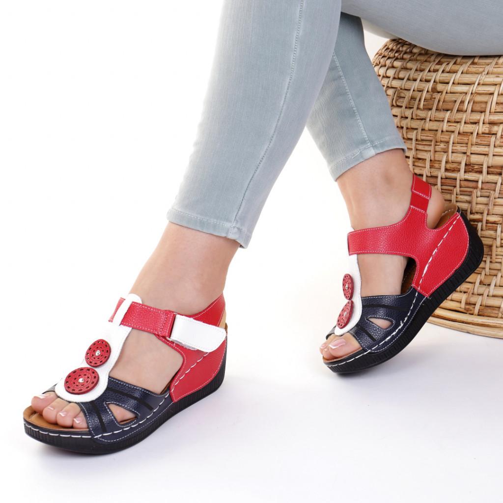 Sandale piele ecologica bleumarin cu rosu Costelia