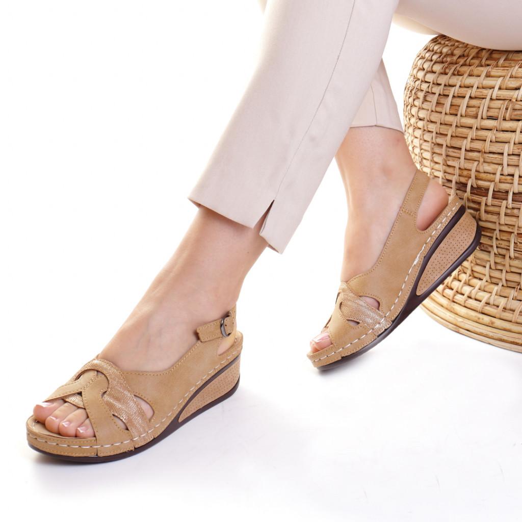 Sandale piele ecologica camel Mihaela